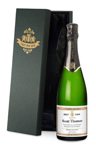 Classic White Personalised Cava with gift box
